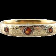 Victorian Bangle Bracelet in Etched Fine Gold, set with Spessartine Garnets