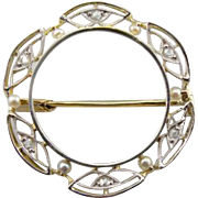 An Edwardian Wedding: Antique Diamond and Cultured Pearl Circle Pin in Platinum and 14K Gold