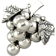 Botryoidal: Vintage Sterling Silver Grape Pendant or Brooch
