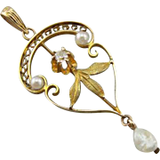 Art Nouveau Diamond and Cultured Pearl Lavalier Pendant