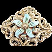 Scrolling 14K Gold Over Silver Symmetallic Brooch With Enamel
