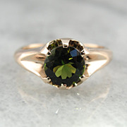 Rose Gold Victorian Simple Green Tourmaline Ring