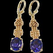 Royal Purple Amethyst set in long 14k Rose Gold, Victorian Earrings