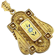 Exquisite Etruscan Revival Locket in 10K Gold and Enamel from the Victorian Period