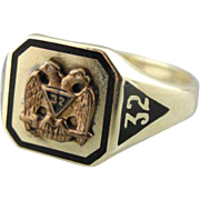 Double Eagle Masonic Ring in Fine 10K Green Gold with Black Enamel