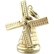 Working, Moving 3D Windmill Gold Charm or Pendant