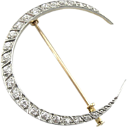 Goddess Diana Crescent Moon Brooch, Circa 1910's with Bright Diamonds