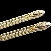 Art Nouveau Era Cultured Seed Pearl Brooch Turned Earrings