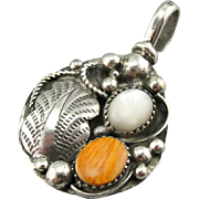 Dual Nature: Native American Turquoise & Spiny Oyster Shell Pendant, Bear Paw and Blossom