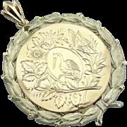 Stunning Tri Color Gold Pendant, Art Nouveau and Elements, Laurel Wreath Motif