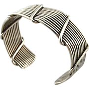 Sterling Silver Wire Cuff Bracelet with Wrap Design