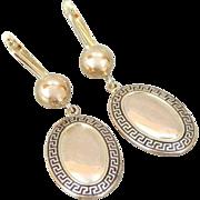 Greek Key Drop Earrings In Shining 14K/18K Gold