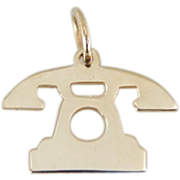 Vintage Telephone Charm In 14K Yellow Gold