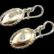 Antique Old Mine Cut Diamond and Fine 14K Gold Drop Earrings