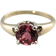 Bright Fuscia Pink Tourmaline Ring, Stunning Color in Fine Gold