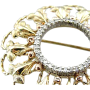 Vintage 18K Gold And Diamond Brooch With Rose Gold Accents