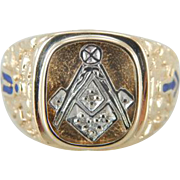 Gentlemen's Masonic Ring in 10K Gold with Diamond and Enamel Inlay, Blue Lodge