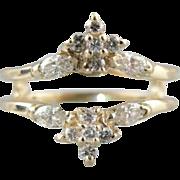 Vintage Diamond Guard or Enhancer, Diamond Solitaire Enhancer Wedding Ring / Band