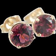 Raspberry Pink Tourmaline Stud Earrings