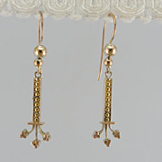 Long Victorian Drop Earrings, Antique Rose Gold, Gothic Style