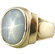 Mens or Ladies Star Sapphire in Retro Large Setting, Fine Stone