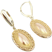 Victorian 14K Rose Gold, Simple Oval Drop Earrings