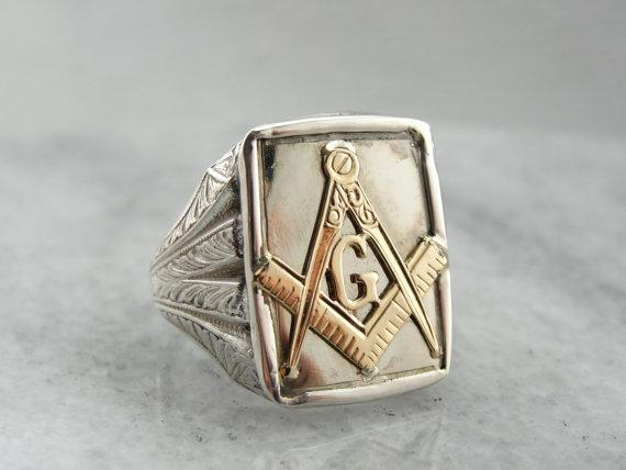 sterling silver and polished 10k gold s masonic ring