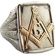 Sterling Silver and Polished 10K Gold Men's Masonic Ring