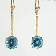 Gorgeous Blue Topaz Earrings,  Vintage Art Deco Drops, Pierced