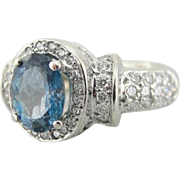 Aquamarine and Pave Diamonds Halo Cocktail or Dinner Ring