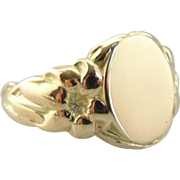 Tiger Lily Flower Signet Ring in Fine 14K Gold
