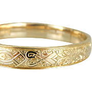 Beautifully Etched Victorian Revival Gold Fill Hinged Bangle Bracelet