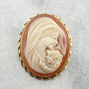 Beautiful Mother and Child Shell Cameo in Pin or Pendant Frame