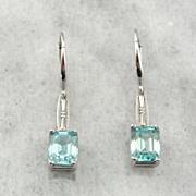 Outstanding Blue Zircon and White Gold, Art Deco Earrings, Drop Earrings