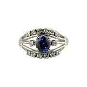 Exceptional Retro Cocktail Ring with Fine Purple Sapphire Center, White Gold and Diamonds