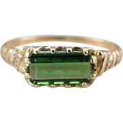 Incredible Victorian Green Tourmaline Ring in Wearable Size