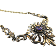 1940's Retro Symmetalic Company Scroll Flower and Gold Necklace