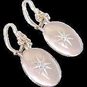 Antique Starburst And Diamond Drop Earrings