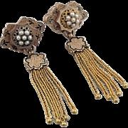 Exceptional Victorian Tassel Earrings, 10K Rose Gold, Cultured Pearls & Enamel. Pierced