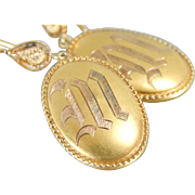Retrofitted Antique Cufflink Earrings with M Monogram