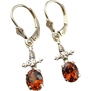 Vintage Hessonite Garnet Drop Earrings with Lovely 14K Gold Motifs