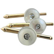 Mother of Pearl and Diamond Shirt Studs, Fine Menswear, Tuxedo Accessories