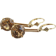 Luxurious Champagne Zircon and 14K Rose Gold Earrings