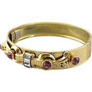 Vintage Gold Fill Bangle Bracelet With Rhinestone Accents