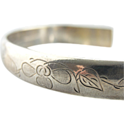 Sterling Silver Cuff Bracelet, With Lovely Floral and Bamboo Motif