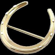 Lucky Retro Era Horseshoe Pin in Yellow and White 14K Gold