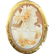 White Shell Cameo with Lovely Orange Highlights in Fine 10K Gold Frame, Art Nouveau Pendant ..