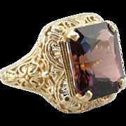 Bold Filigree Ring with Fine Deep Rose Nigerian Pink Tourmaline Gem