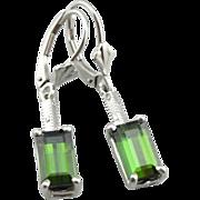 Outstanding Art Deco Filigree, Green Tourmaline Earrings