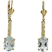 Green Gold and Aquamarine Blue Topaz Drop Earrings with Art Nouveau Components